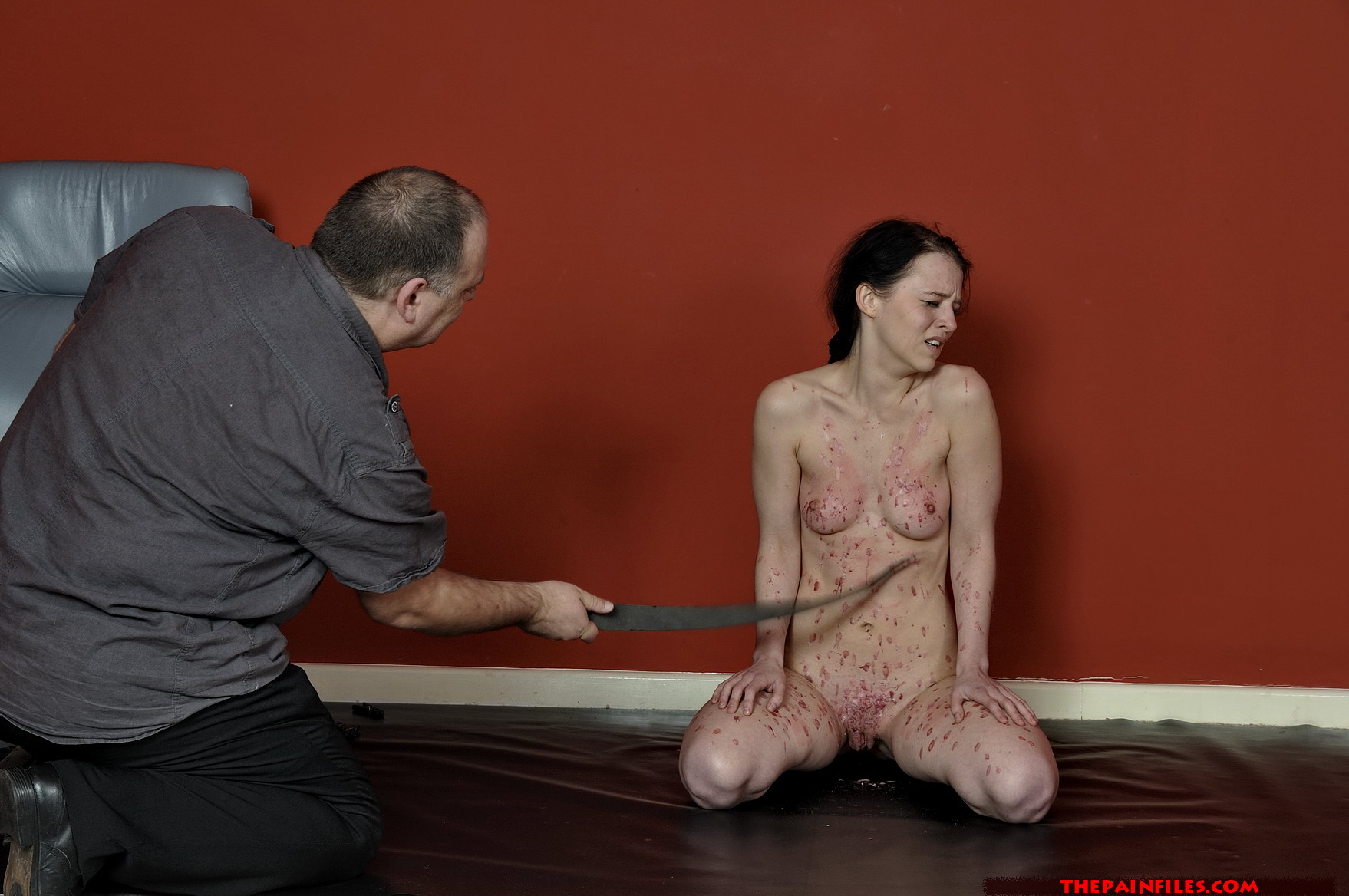 Sadistic bdsm sub covered with clover clamps 3